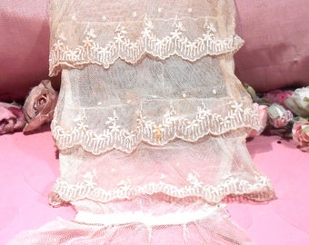 Antique  Lace Tulle French Victorian Dress Modesty