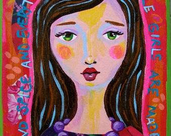 Mixed Media Folk Art Girl