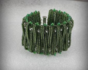 Seed Bead Bracelet , Netted Bracelet , Hand Woven Beadweaving Bracelet , Hand Beaded ,  Beaded Jewelry