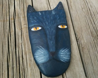 Black Cat Art, Wall Hanging, Cat Folk Art, Outsider Art, Whimsical Art, Cat Decor, Wall Sculpture, Quirky Portrait, Naive Art, Wall Art