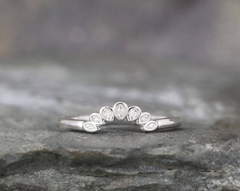 Wedding Band - Diamond and Sterling Silver - Curved Bands - Your choice of finish - Made to order