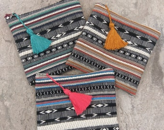 The Small Clutch - Aztec Stripe Zippered Clutch with Tassel