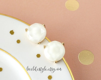 Ivory  Color Round Stone Studs Earrings,Ivory Studs Earring,  Bridal Earrings, Bridesmaid Earrings, Flower Girl Earrings