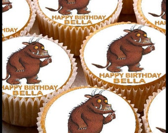 24 x Personalised Gruffalo Cup Cake Toppers with Any Name Happy Birthday
