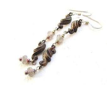 Scroll Earrings, Vintage Metal Stampings and Labradorite, Sterling Silver Wires