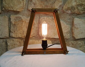 Vintage wooden PRESS FRAME LAMP with Edison Bulb