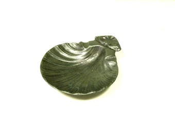 French Vintage Shell Shapped Pewter Trinket Dish, Coin Dish, Ring Dish