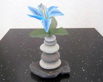 Beach Pebble/Rock Bud Vase, Natural Beach Pebbles And Rocks