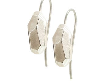 Earring Faceted 925 sterling silver: rocky Pierced earrings White