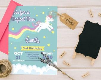 Magical Unicorn Birthday invitation- Digital Invite. 5x7
