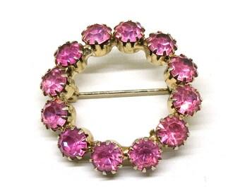 Pink Rhinestone Brooch - Vintage, Gold Tone Circular Pin