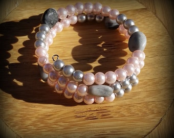 Pink and Grey Pearl Bracelet - Natural Grey Stone Nuggets