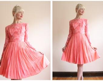 1950s Dress // Sweet Sugar Silk Chiffon Dress // vintage 50s dress