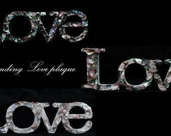 New Zealand Paua/Mussel shell embellished freestanding 'Love' plaque