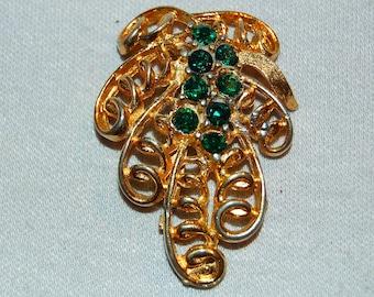 Large Rhinestone Brooch,  Green Rhinestone Brooch, old jewelry Vintage