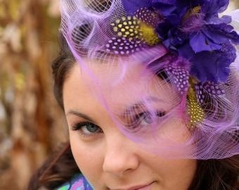 "Mardi Gras Purple fascinator derby  fascinator hat, purple flower, wedding hat ""Purple Luna"""