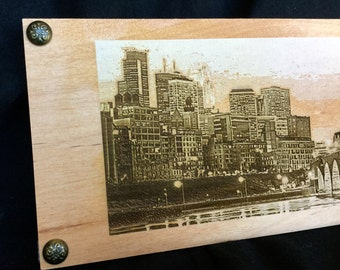 Minneapolis and St. Paul Engraved Skylines