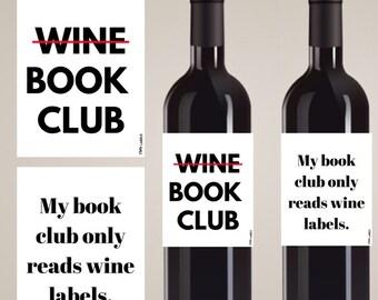 Book Club Wine Label, Book Club Wine, Book Club Gift, Funny Wine Labels, Book Club favors, Book club decorations