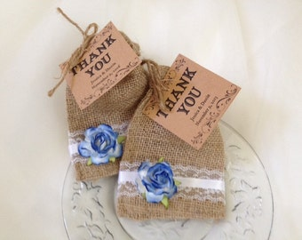 Blue Burlap and Lace Wedding Party Favor Bags for Weddings, Party Favors for Weddings, Rehearsal Dinners or Parties - Wedding Table Decor