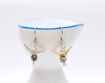 Origami earrings recycled atlas paper crane eco-friendly jewelry -MADE TO ORDER