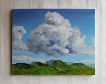 Summer landscape art Cloud oil painting Cloudly sky Painting wall art Gift home décor Blue white cloud Mountains and sky painting Sky art
