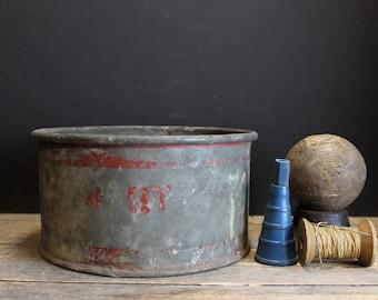 Vintage Rustic Metal Pan // Atlantic Glavanized Aluminum / Red Chippy Paint  // Rusty // Farm Chic
