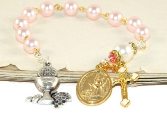 1st Communion Chaplet Rosary, Pink & Gold Guardian Angel Medal
