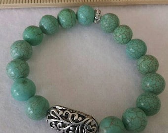 """7"""" Turquoise and Silver Stretch Bracelet"""