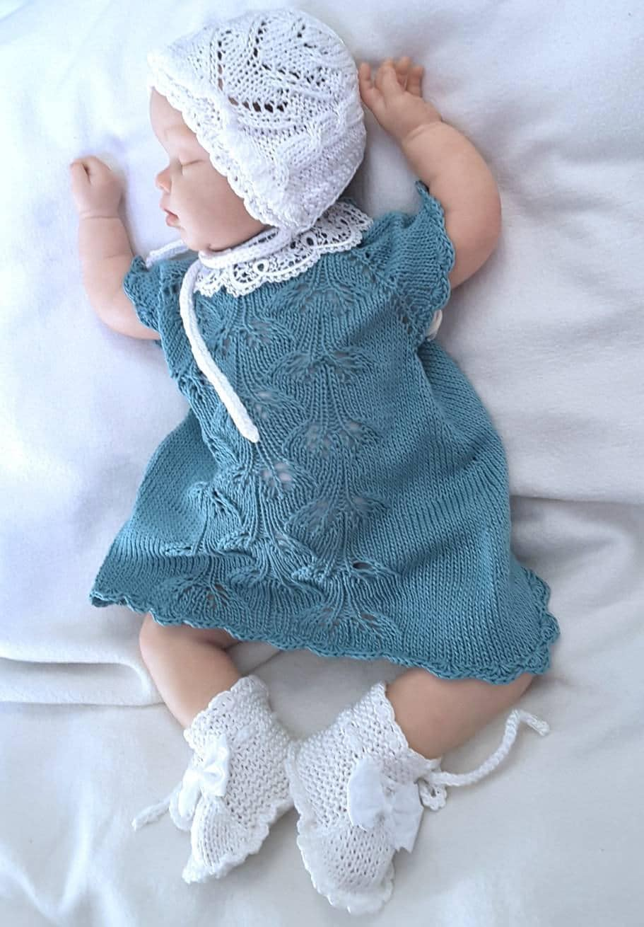 Hand Knit Baby Set Knitted baby clothes Knitted dress newborn