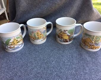 Sunny Stoneware coffee/tea mugs Set of 4 Winter scenes Korea 21108