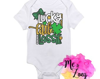 Lucky Little Lassie- Lucky bodysuit- Lucky kids shirt- luck baby- clover bodysuit- St. Patrick's Day-