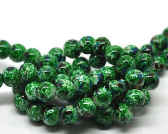 15 Green Glass Beads with Mottled Blue and Red, 10mm (1V-12)