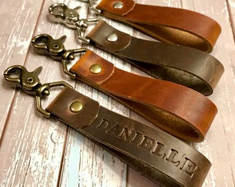 Personalized Leather Lanyard | Key Fob for Women | Personalized Key fob | Leather Key Fob | Custom Lanyard |Leather KeyChain