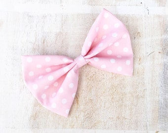 Light pink with white polka dot large hair bow on clip Rockabilly Pin Up