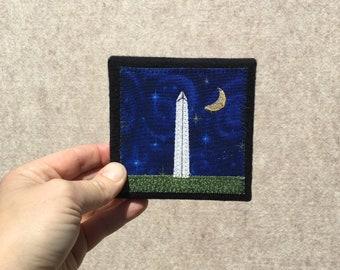 Mini Washington Monument at Midnight, 4x4 inches, original sewn fabric artwork, handmade, freehand appliqué, ready to hang canvas