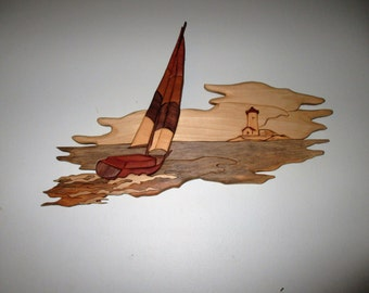Handmade, intarsia wood art, seascape wall art