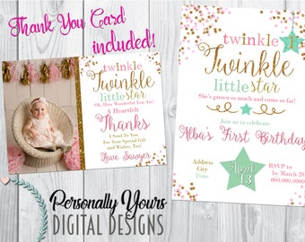 Twinkle Little Star Birthday Invitation