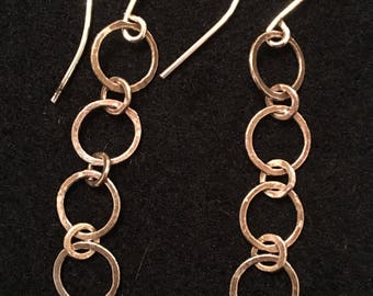 Fused and hammered fine silver chain earrings 4 loops