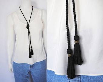 90s tassel wrap necklace, vintage choker necklace -- wrap around, cord necklace, long tassel, tassel choker, lariat, 1990s 90s necklace