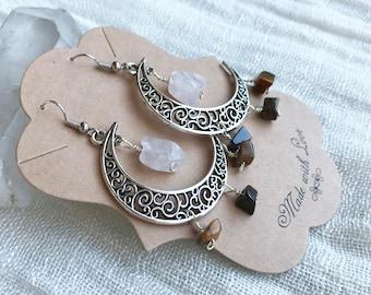 Rose Quartz Earrings - Moon Earrings - Moon Jewelry - Crescent Moon - Crescent Moon Earrings - Tigers Eye Earrings - Rose Quartz Jewelry