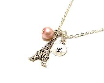 Personalized Hand Stamped Initial Glass Pearl and Eiffel Tower Charm Sterling Silver Necklace / Paris Necklace / Gift for Her