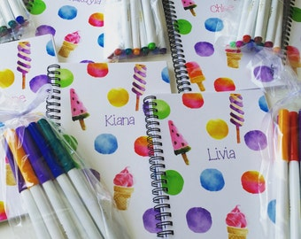 Personalized Notebook, Christmas Gifts for girls! notebook, cute journal with ice cream, journal, personalized notebook, customized notebook