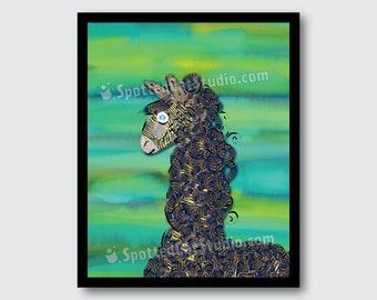 Blue Llama illustration, digital download, wall art decor