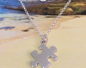 Puzzle Piece Charm Bracelet, Sterling Silver Puzzle Piece Charm Bracelet, Autism Awareness Sign, B3344, Mother's Day Gift