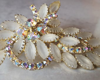 Crystal and opaque white leaf shaped Brooch