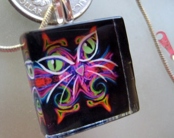 Glass Tile Pendant-- SuperNova Cat with green eyes by DC Langer- comes with silver snake chain and black satin cord