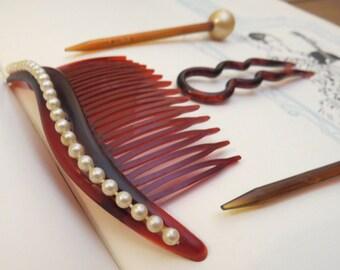 Celluloid Comb Hair Pins Hair Fork Set Faux Tortoise Shell