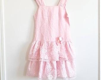 Vintage Pink Drop Waist Pink Dress