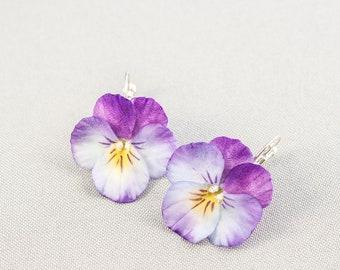 Earrings flower pansies Real flower earrings Purple earrings Floral earrings polymer clay Real flower jewelry Floral gift