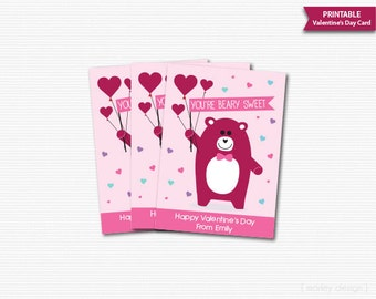Valentine's Day Cards Classroom Kids Valentines Cards Printable Personalized Beary Sweet Digital Gift Tags Valentines Favor Tags Labels